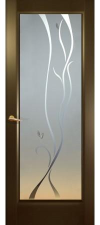 """Межкомнатная дверь """"Новая волна"""" (P стек. белое.) Венге"""