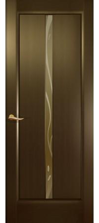 """Межкомнатная дверь """"Новая волна"""" (L стек. бронзовое.) Венге"""