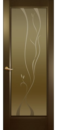 """Межкомнатная дверь """"Новая волна"""" (P стек. бронзовое.) Венге"""