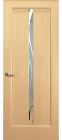 """Межкомнатная дверь """"Новая волна"""" (L стек. белое) Беленый дуб"""