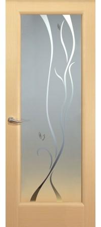 """Межкомнатная дверь """"Новая волна"""" (P стек. белое) Беленый дуб"""