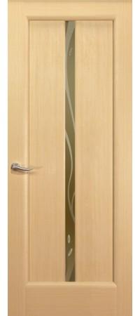 """Межкомнатная дверь """"Новая волна"""" (L стек. бронзовое) Беленый дуб"""