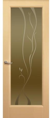"""Межкомнатная дверь """"Новая волна"""" (P стек. бронзовое) Беленый дуб"""