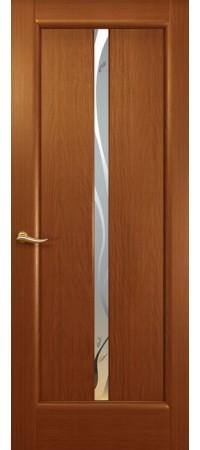 """Межкомнатная дверь """"Новая волна"""" (L стек. белое.) Красное дерево"""