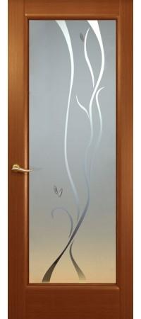 """Межкомнатная дверь """"Новая волна"""" (P стек. белое.) Красное дерево"""