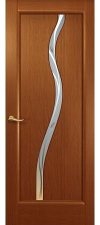 """Межкомнатная дверь """"Новая волна"""" (Z стек. белое.) Красное дерево"""