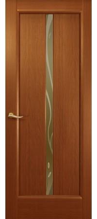"""Межкомнатная дверь """"Новая волна"""" (L стек. бронзовое.) Красное дерево"""
