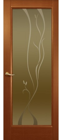 """Межкомнатная дверь """"Новая волна"""" (P стек. бронзовое.) Красное дерево"""