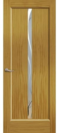 """Межкомнатная дверь """"Новая волна"""" (L стек. белое) Ясень шервуд"""