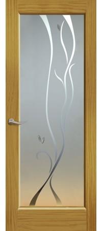 """Межкомнатная дверь """"Новая волна"""" (P стек. белое) Ясень шервуд"""