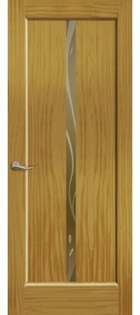 """Межкомнатная дверь """"Новая волна"""" (L стек. бронзовое) Ясень шервуд"""