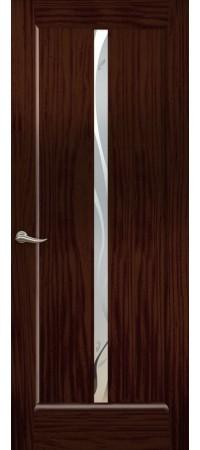 """Межкомнатная дверь """"Новая волна"""" (L стек. белое) Ясень винтаж"""