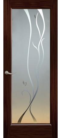 """Межкомнатная дверь """"Новая волна"""" (P стек. белое) Ясень винтаж"""