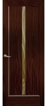 """Межкомнатная дверь """"Новая волна"""" (L стек. бронзовое) Ясень винтаж"""