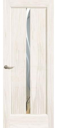 """Межкомнатная дверь """"Новая волна"""" (L стек. белое. ) Ясень белый жемчуг"""