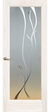 """Межкомнатная дверь """"Новая волна"""" (P стек. белое. ) Ясень белый жемчуг"""