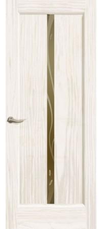 """Межкомнатная дверь """"Новая волна"""" (L стек. бронзовое. ) Ясень белый жемчуг"""