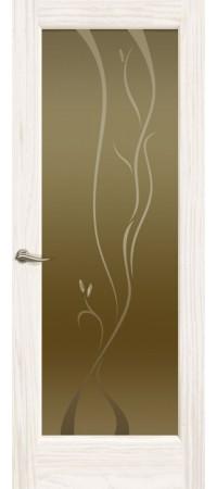 """Межкомнатная дверь """"Новая волна"""" (P стек. бронзовое. ) Ясень белый жемчуг"""