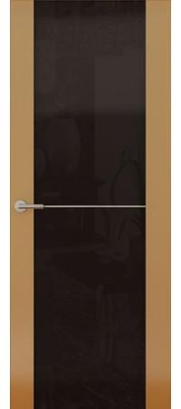 Межкомнатная дверь серии Italy Avorio-1 (Стек. черное) Глянец мокко