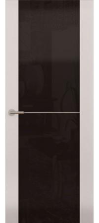 Межкомнатная дверь серии Italy Avorio-1 (Стек. черное) Матовый белый