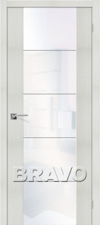 Межкомнатная дверь из Эко Шпона серии Vetro V4 WW Bianco Veralinga