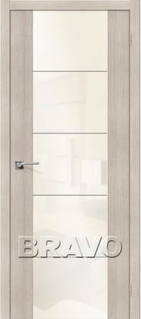 Межкомнатная дверь из Эко Шпона серии Vetro V4 WР Cappuccino Veralinga