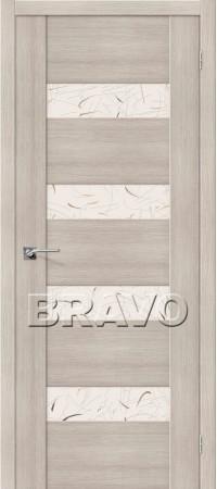 Межкомнатная дверь из Эко Шпона серии Vetro VM4 Cappuccino Veralinga