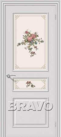 Межкомнатная дверь серии Fix с отделкой белой эмалью Опера К-33 (Белый)