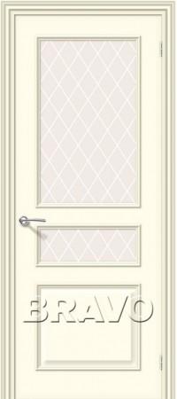 Межкомнатная дверь серии Fix с отделкой белой эмалью Опера К-35 (Ваниль)