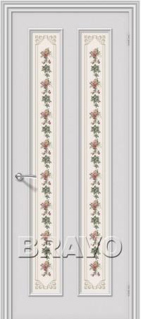 Межкомнатная дверь серии Fix с отделкой белой эмалью Пастораль К-33 (Белый)
