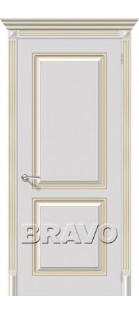 Межкомнатная дверь серии Flex с отделкой эмалью Блюз К-24 (Белое Золото)