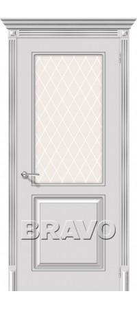 Межкомнатная дверь серии Flex с отделкой эмалью Блюз К-25 (Белое Серебро)